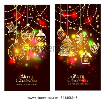 Christmass toys on dark background. Holiday banners set. - stock vector