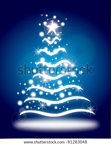 christmastree card with lines and gift - stock vector