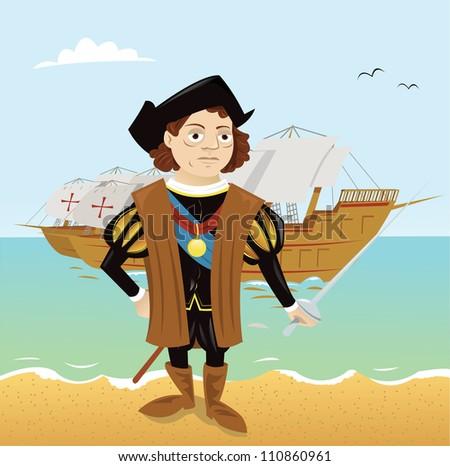 Christopher Columbus - stock vector