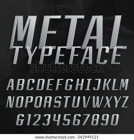 Chrome alphabet vector bold font. Type letters and numbers. Beveled metal effect letters on the black polygonal background. Vector typeface for headlines, posters etc. - stock vector