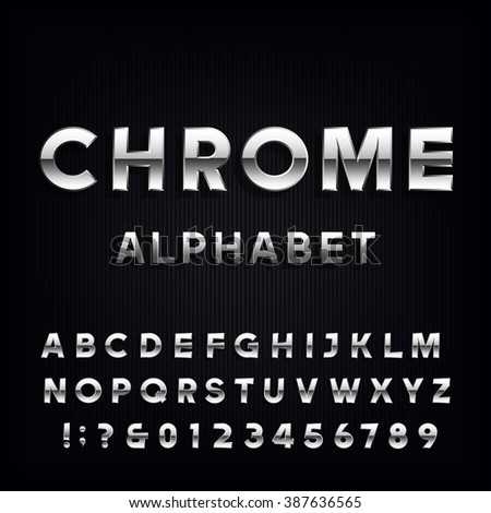 Chrome Alphabet Vector Font. Metallic type letters and numbers on the dark background. Vector typeface for headlines, posters etc. - stock vector