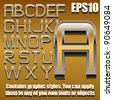 chrome and gold alphabet eps10 (hand drawn font contains graphic styles available in Illustrator 10 + You can apply these styles to any of you own fonts or objects) - stock vector