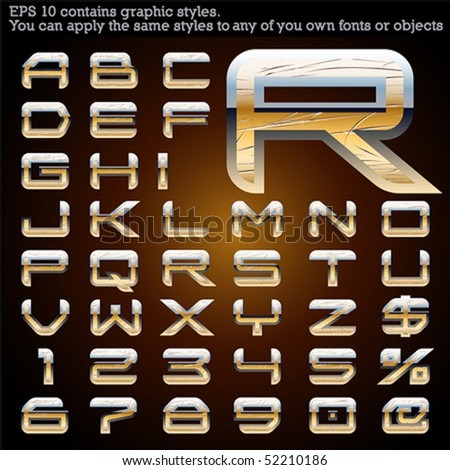 Chrome and gold typeface. Scratched. File contains graphic styles available in the Illustrator 10 + You can apply the styles to any of you own fonts or objects - stock vector