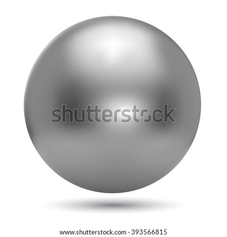 Chrome ball realistic vector illustration isolated on white background. - stock vector