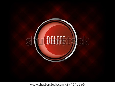 Chrome button DELETE with plastic elements. Vector icons. - stock vector