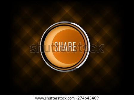 Chrome button SHARE with plastic elements. Vector icons. - stock vector