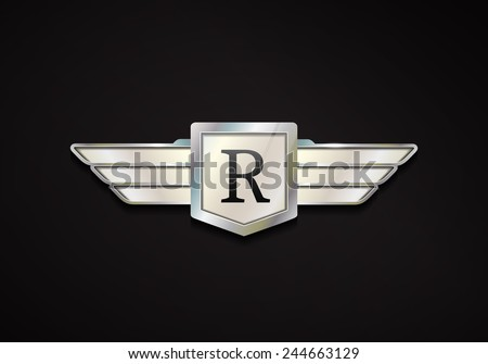 Chrome emblem with wings. 3d car vector logo. - stock vector