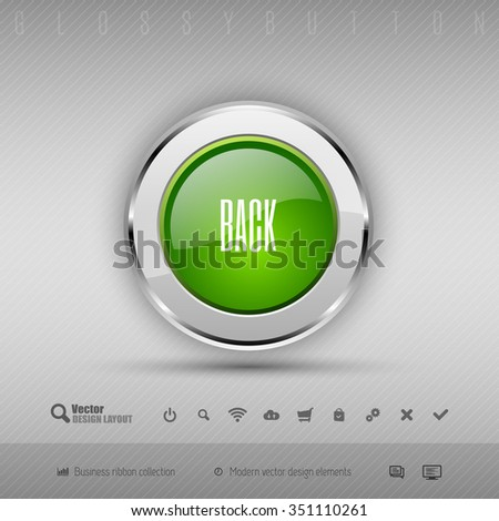 Chrome glossy button with green center. Vector business design elements. - stock vector