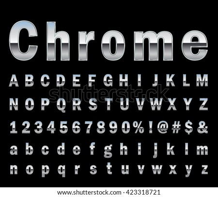 chrome  letter set  - stock vector