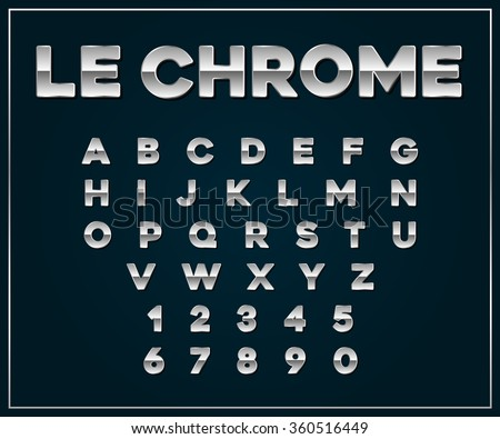 Chrome Silver Metallic Font Set. Letters, Numbers in Vector - stock vector