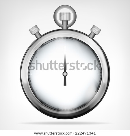 chrome stopwatch isolated object vector illustration - stock vector