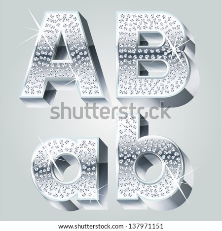 Chrome symbols inlaid of diamond crumbs. Letters A B - stock vector