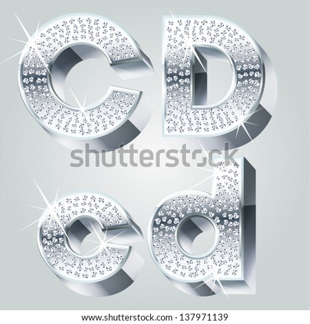 Chrome symbols inlaid of diamond crumbs. Letters C D - stock vector