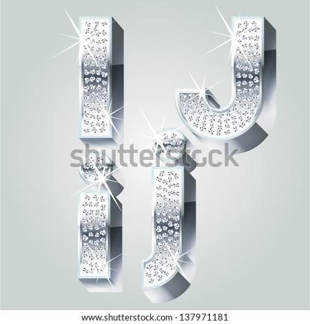 Chrome symbols inlaid of diamond crumbs. Letters I J - stock vector