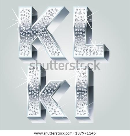 Chrome symbols inlaid of diamond crumbs. Letters K L - stock vector