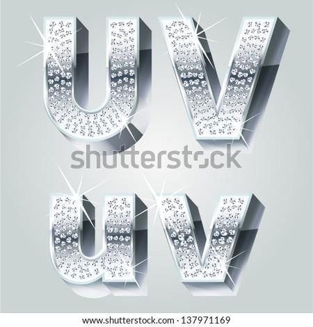 Chrome symbols inlaid of diamond crumbs. Letters U V - stock vector