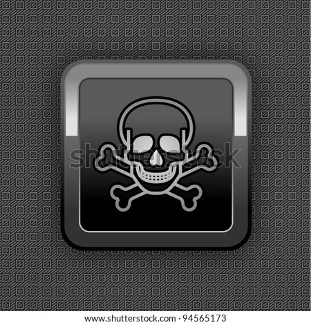 Chrome web button. Plastic texture. 10eps - stock vector