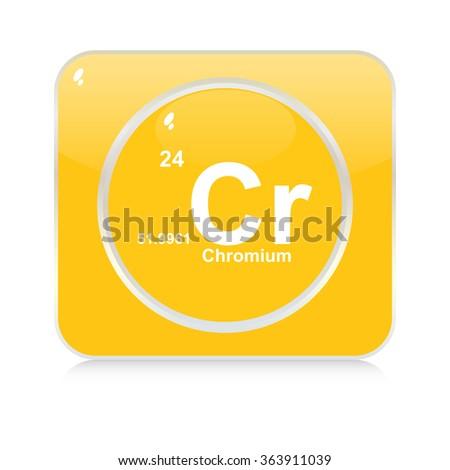 chromium chemical element button - stock vector