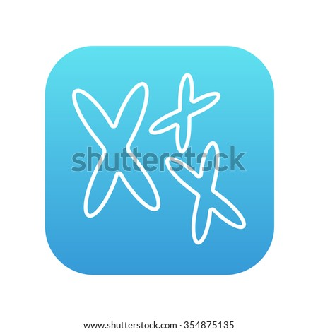 Chromosomes line icon for web, mobile and infographics. Vector white icon on the blue gradient square with rounded corners isolated on white background. - stock vector