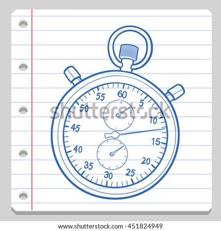 Chronometer Notebook School Doodle Icons Hand Made - stock vector