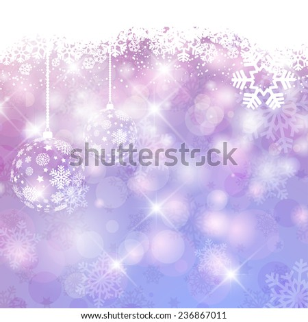 Chrsitmas baubles on a snowflake background