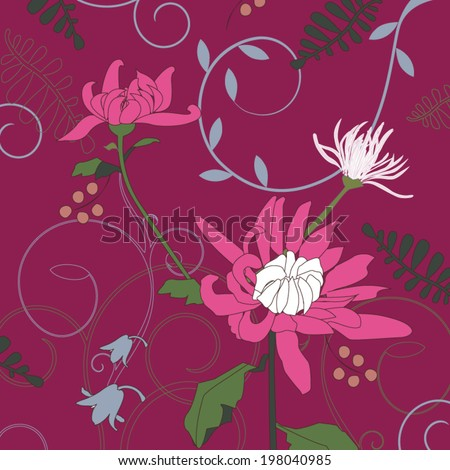 Chrysanthemum Ornament. Vector Illustration. Ethnic pattern. Summer pattern. Bright Background. Use for pillow decoration, interior decoration, wallpaper, wrapping paper, doily, pattern fills.