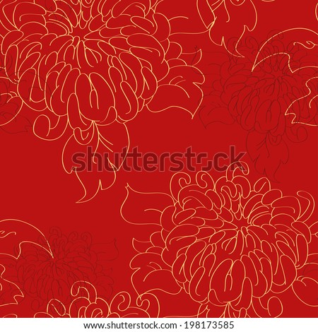 chrysanthemum tile pattern in traditional style - stock vector