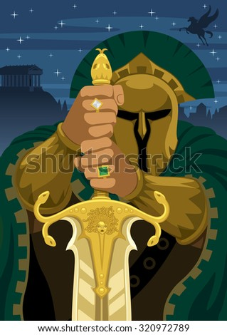 Chrysaor -son of Medusa and brother of Pegasus. No transparency used. - stock vector