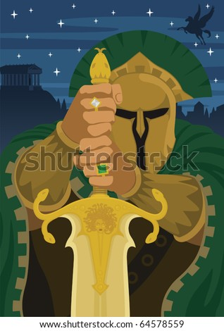 Chrysaor: This is the giant Chrysaor - son of Medusa and brother of Pegasus. Ancient Greeks believed that he was king of Iberia. No transparency used. - stock vector