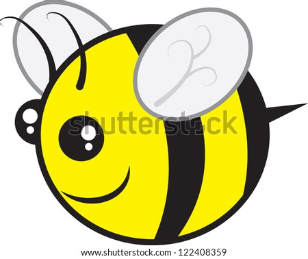Chubby bee character flying isolated - stock vector