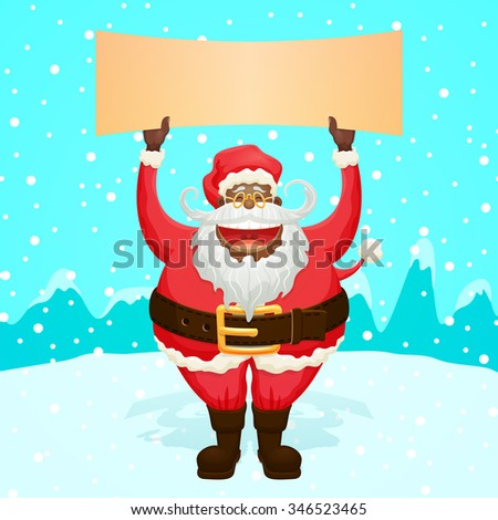 Chubby Funny Santa Claus Holding Sign Nice Character for your designs - stock vector