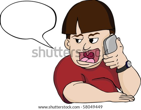 Chubby man talks loudly on his phone. Includes a text bubble to insert customizable content. - stock vector
