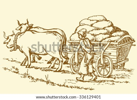 Chumak is historic occupation on Ukraine as merchants or traders, and big cartload laden with sacks of salt. Vector freehand ink drawn background sketch in art doodle antiquity style pen on paper - stock vector