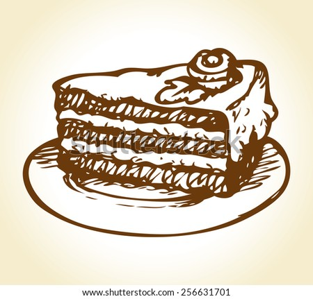 Chunk of dark cocoa tasty flavor torte with curd butter whipped topping crust and floral decor on white saucer. Freehand ink drawn background sketch in doodle style pen on paper with space for text - stock vector