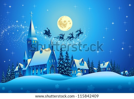 Church and Houses in the Christmas Night - stock vector