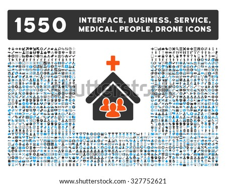 Church and other web interface, business tools, people poses, medical service vector icons. Style is flat symbols, bicolored, rounded angles, white background. - stock vector