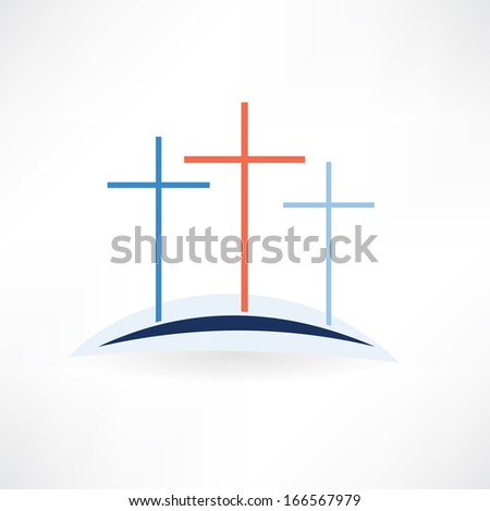 church crosses icon - stock vector