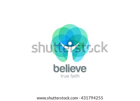 Church Faith Logo Pray Religion abstract design vector template. Religious Monk Belief Christian Logotype concept icon Negative space style. - stock vector