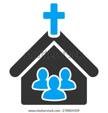 Church icon from Business Bi color Set. This isolated flat symbol uses modern corporation light blue and gray colors. - stock vector
