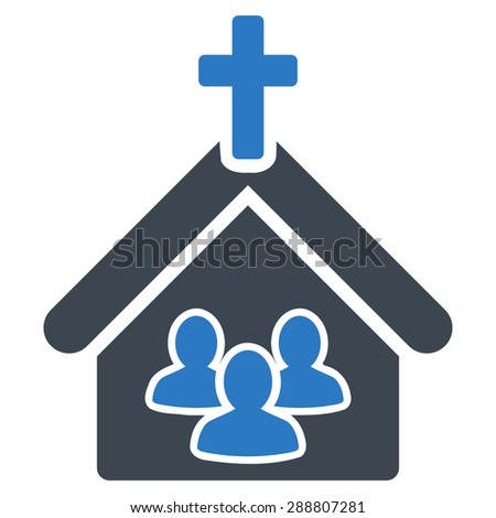 Church icon from Business Bicolor Set. This flat vector symbol uses smooth blue colors, rounded angles, and isolated on a white background. - stock vector