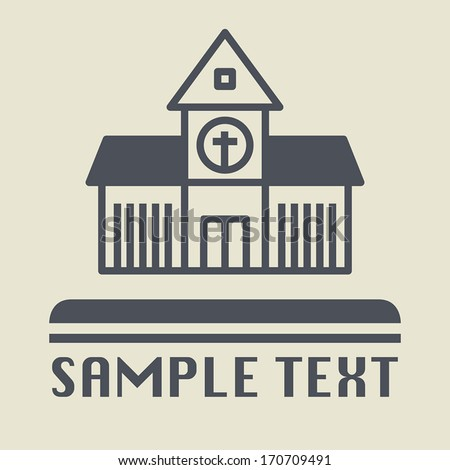 Church icon or sign, vector illustration - stock vector