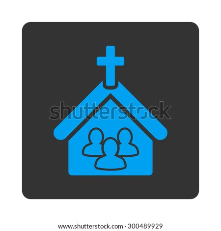 Church icon. This flat rounded square button uses blue and gray colors and isolated on a white background. - stock vector