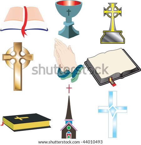 Church Icons 2 Vector, Illustration of 9 church/Christian icons. - stock vector