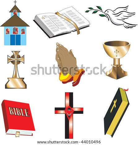 Church Icons 1 Vector, Illustration of 9 church/Christian icons. - stock vector