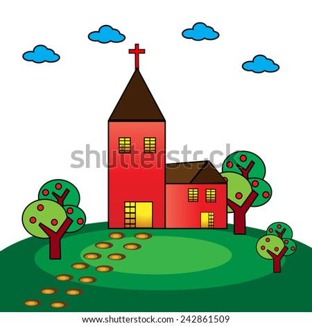 Church in the countryside-Vector illustration  - stock vector