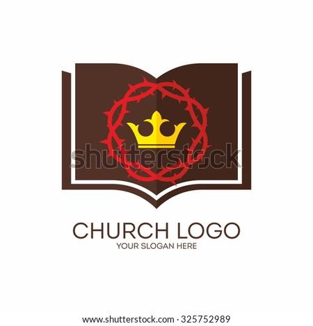 Church logo. Bible, crown, crown of thorns. - stock vector