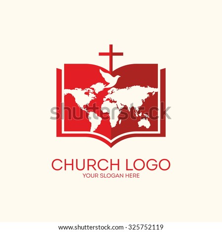 Church logo. Bible, world map, cross and dove - stock vector
