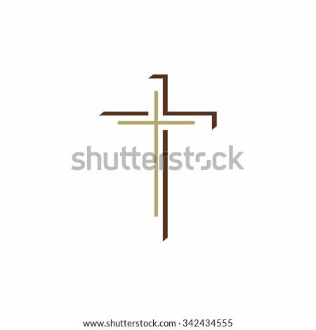 Church logo. Christian Cross - stock vector