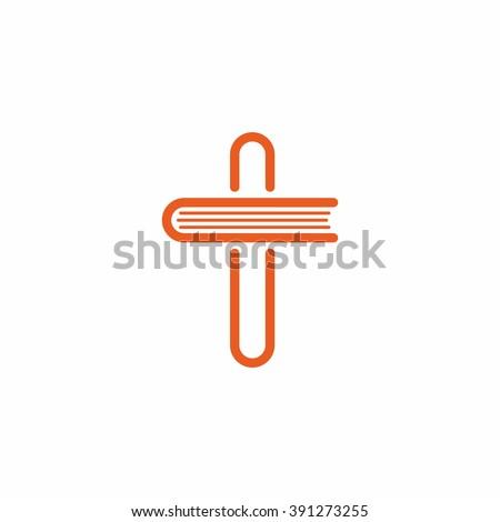 Church logo. Christian symbol - cross of Jesus Christ. - stock vector