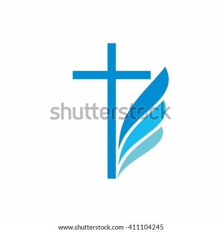 Church logo. Christian symbols. Cross and wing. - stock vector